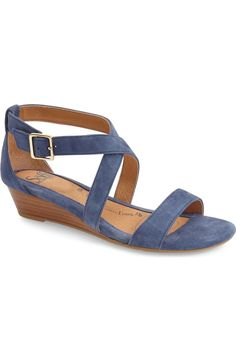 Söfft 'Innis' Low Wedge Sandal (Women) available at water suede (color) Low Wedge Sandals, Sexy Sandals, Cute Sandals, Fashion Sandals, Strap Sandals, Shoes Sandals, Funky Shoes, Blue Wedges, Comfortable Sandals