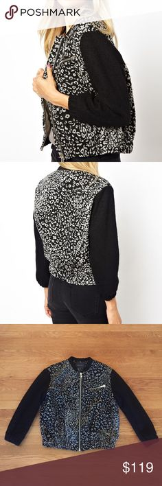 Maison Scotch animal print bomber jacket This is absolutely the most amazing jacket by Maison Scotch. It features a cool bomber design with black sleeves and a gray and black leopard print body. Modern and edgy yet classic design. Fit is unbelievable. Looks amazing with skinny jeans, leather leggings, distressed jeans, shorts, skirts, and just about anything else. Silver hardware. Fully lined. Perfect for the transition from summer to fall and winter. 3/4 sleeves. Wonderful condition. Size 1…