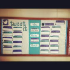 DIY twitter bulletin board. Let the students choose a screen name and tweet what they learn or thoughts about the school day. This interactive board allows them to socialize in the classroom. #connect #discover and #follow about each other and what they learn during the school day.