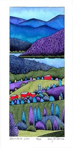 Adirondack View - Daryl V. Storrs (Just like the colors. Landscape Quilts, Landscape Art, Landscape Paintings, Contemporary Landscape, Acrylic Paintings, Silk Painting, Painting & Drawing, Painting Flowers, Pastel Drawing
