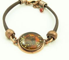 Orgone Energy Bracelet - Leather Friendship Bracelet - Copper & Carnelian Gemstone - Celebrity Gift - Artisan Jewelry