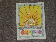 Believe Rainbow Shaker Blank Greeting Card All by LadyJPaperGarden