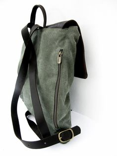 Items similar to Green Canvas Laptop Backpack on Etsy Leather Laptop Backpack, Laptop Rucksack, Computer Backpack, Types Of Handbags, Weekender, Hip Bag, Canvas Leather, Waxed Canvas, Italian Leather