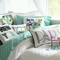 I would want personalized pillows with my favorite places ive traveled too c: ... Just not this color scheme.