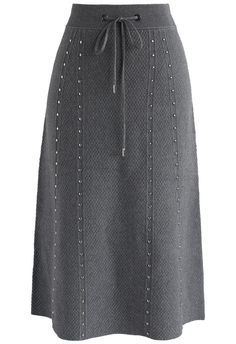 Gallant Embossed Knitted A-lined Skirt in Grey - New Arrivals - Retro, Indie and Unique Fashion
