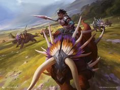 MtG Art: Imperial Lancer from Ixalan Set by Viktor Titov - Art of Magic: the Gathering Creature Concept Art, Creature Design, Prehistoric Creatures, Mythical Creatures, Fantasy World, Fantasy Art, Science Fiction, Character Art, Character Design