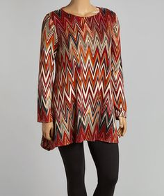 Another great find on #zulily! Rust & Tan Chevron Top - Plus by Allie & Rob #zulilyfinds