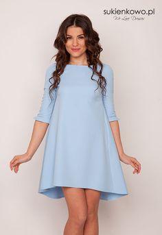 Sukienkowo.pl - Trapezowa asymetryczna sukienka Baby Blue KAREN