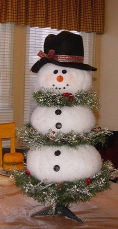 Snowman Made From White Christmas Tree.