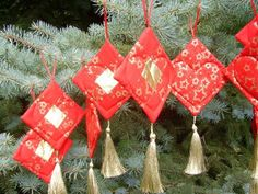 Red And Gold Nine Patch Ornament by LifeInMichigan on Etsy, $5.00