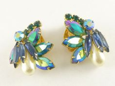 Vintage LARGE D&E Juliana Peacock Blue Green Navette Rhinestone Clip Earrings #DeLizzaElsterDEJuliana
