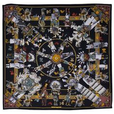 Iconic Grail Hermes Kermit Oliver Kachinas Silk Scarf | From a collection of rare vintage scarves at https://www.1stdibs.com/fashion/accessories/scarves/