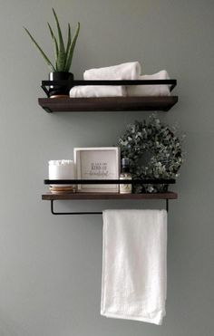 Apr 2020 - Floating Wall Mounted Storage Shelves for Set of Two Brown Wall Mounted Storage Shelves, Floating Wall Shelves, Metal Shelves, Corner Shelves, Wood Bathroom Shelves, Decorating Bathroom Shelves, Shelves Above Toilet, Empty Wall Spaces, Bathroom Sets