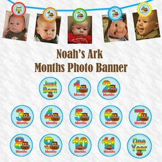 Noah's Ark Birthday Noah's Ark Party Noah's by JRCreativeDesigns Noahs Ark Party, Noahs Ark Theme, Baby Boy 1st Birthday, Birthday Fun, Birthday Ideas, Picture Invitations, Picture Banner, 1st Birthday Invitations, Baby Shower Themes