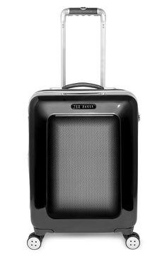 Men's Ted Baker London Small Herringbone Rolling Suitcase - Black (22 Inch)
