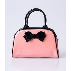 Hell Bunny Retro Pink Patent Lola Bow Bowling Bag ($88) ❤ liked on Polyvore featuring bags, handbags, light pink, red patent leather purse, handbags purses, red patent handbag, light pink handbag and bowling bag