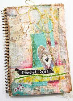Danita Art Journal. Love: gentle colors. Sewed bits. Scraps of papers.