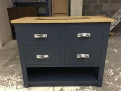We love this bathroom sink unit in F&B Hague Blue with a lacquered oak top, Bespoke and made to order by Cobwebs Furniture Company. Pine Furniture, Solid Wood Furniture, Bathroom Sink Units, Hague Blue, Crafts Beautiful, Furniture Companies, Railings, Plank, Filing Cabinet