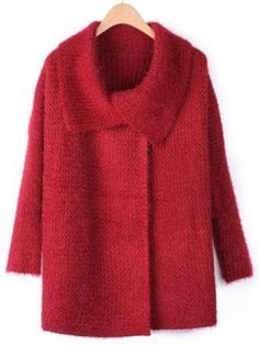 Women Large Lapel Bat Sleeve Loose Knitted Sweater Coat