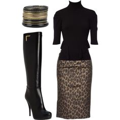 Fashionista Trends: Classic Outfits - Karen Millen Zip Corset Roll Neck, Leopard Pencil Skirt, Fendi Platform Knee Boots, Set Of Fifteen Bangles.