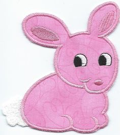 Ironon Bunny machine embroidered applique by QUILTSRUS08 on Etsy