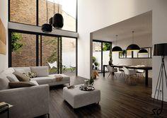Charming Modern Living Cum Dining Room Interior Design Inspiration Includes L Shaped Sofa, Eames Molded Plastic Dowel-Leg Armchairs, Hardwoo...