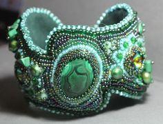 SALE Cuff Bracelet embroided with  Malachite, pearls, Swarovski crystals-Beadwork jewelry beadwork jewelry - cuff with Malachite by TakhisisArtshop on Etsy https://www.etsy.com/listing/212159669/sale-cuff-bracelet-embroided-with