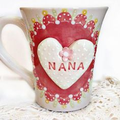Pretty Personalized Tea Cup For Mimi  by TheBabyHandprintCo