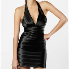 BCBG Bandage Dress Never worn, pristine condition! Fully lined, plunging neckline, hidden back zipper, halter style top. Selling through Ⓜ️️erc only! BCBGMaxAzria Dresses Mini