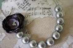 Charcoal Gray statement necklace Gray pearl bead by thepaisleymoon, $24.00