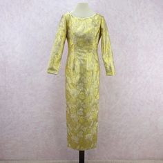 8d6aa8f029c9 Vintage 70s Gold Shimmery Lamé Brocade Sheath Gown