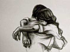 рисунок, сердце, объятие, любовь, карандаш, эскиз