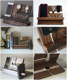 Night stand valet - Phone or Watch Charging Stand, Nightstand Dock, Graduation or Father's Day Gift.