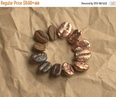 Christmas Sale 10% Coffee beans copper-plated metal by Galvanart