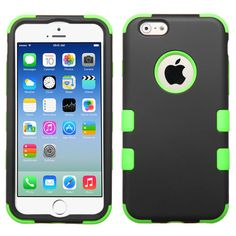 Lime Green, Black Rubber Hybrid Impact Defender Case For iPhone 6.