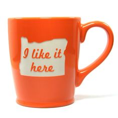 Love the state of Oregon? I like it here too. This large, sturdy coffee mug comes in tangerine orange, navy blue, sky blue or celery green. Looking for a different state? Any state can be made to orde