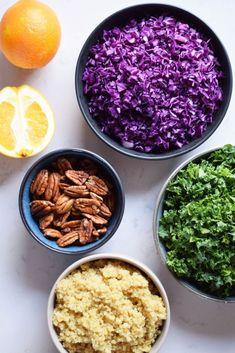 Rødkålsalat med quinoa, pekannødder og appelsindressing - Plantebaserede opskrifter af Johanne Mosgaard Quinoa, Sugar And Spice, Acai Bowl, Salad Recipes, Tapas, Healthy Living, Eat Healthy, Side Dishes, Spices