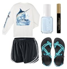 """""""Chacos"""" by ashleyyvetteb ❤ liked on Polyvore featuring Chaco, NIKE, Guy Harvey, Essie and L'Oréal Paris"""