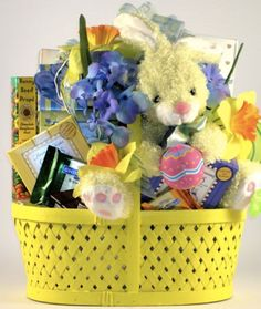 Easter gift basket classic the easter bunny is coming to town bunny fun easter gift basket with plush bunny and easter chocolates for kids negle Images
