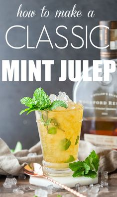 The classic Mint Julep Recipe. Easy to scale for a crowd - this bourbon julep is a MUST for watching the Kentucky Derby or any other horse race party. Made with Woodford Reserve Bourbon Bourbon Cocktails, Easy Cocktails, Fun Drinks, Yummy Drinks, Healthy Drinks, Healthy Snacks, Race Party, Classic Mint Julep Recipe, Health