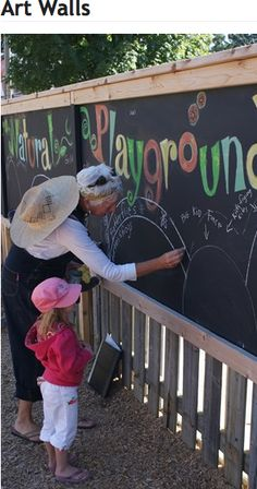 a chalkboard on the fence: If the hospital would allow, this would be a great asset to the playground. It could let the kids be creative in their own setting and being able to have a hand in creating something that is theirs.