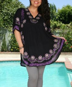 Black & Purple Embroidered Floral Dolman Tunic - Plus by Ananda's Collection #zulily #zulilyfinds