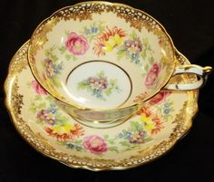 Paragon Bouquet Chintz Multi Pink Peach Gold Wide Tea Cup and Saucer | eBay