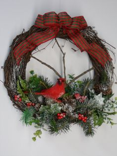 Christmas Wreath Red Bird Wreath Grapevine by BeautifulHomeAccents