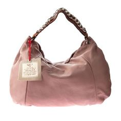 Sofia C Italian Designer Pale Rose Leather Large Hobo Bag Young Designers Material