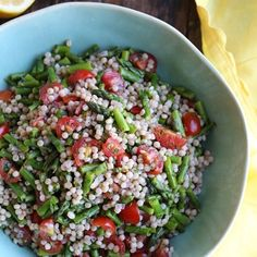 Lemon Asparagus Couscous Salad with Tomatoes-this would be good with Quinoa