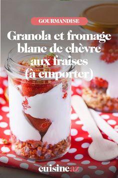 Une recette de dessert à emporter dans sa lunch box: le granola et fromage blanc de chèvre aux fraises. #recette#cuisine #granola #dessert #fromageblanc #fraise #lunchbox