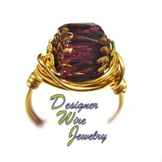 DWJ0629 Stunning Golden Orchid Czech Art Glass Gold Wire Wrapped Ring All Sizes