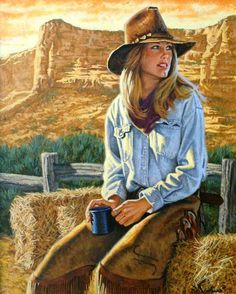 A cup o' joe out on the range. #western #art #cowgirl