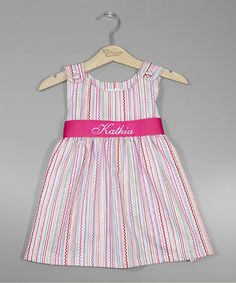Look what I found on #zulily! Pink Stripe Personalized Sash Jumper - Infant, Toddler & Girls by Princess Linens #zulilyfinds